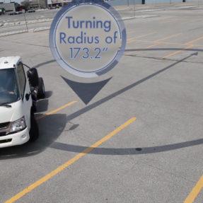 truck demoing turning radius