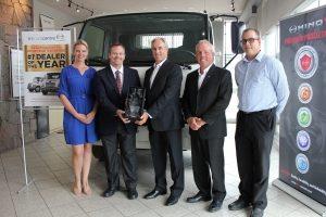 Presenting Tri Truck award to Hino staff